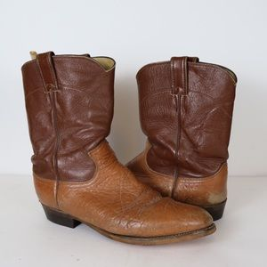 JUSTIN Temple Leather Cowboy Boots Brown Size 9.5